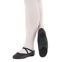 zwarte leren smalle balletschoenen met flexibele splitzool en kruisbandjes So Danca BAE17