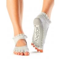 ToeSox Half Toe Bella Antislip sokken voor Yoga en Pilates grijs speciale zool
