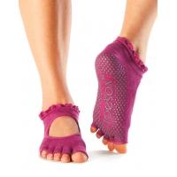 ToeSox Half Toe Bella Antislip sokken voor Yoga en Pilates roze open wreef
